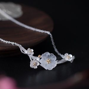 925 Sterling Silver Crystal Plum Blossom Necklace